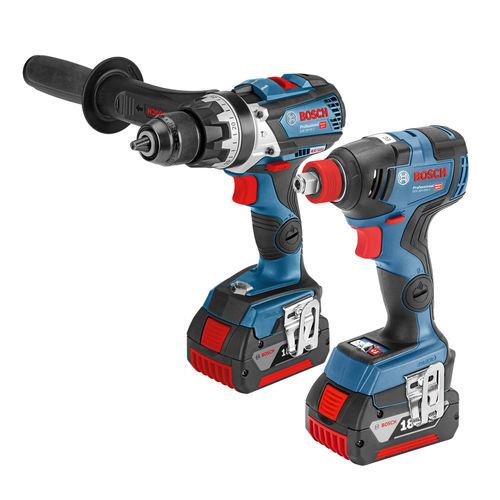 Bosch GSB 18 V-85 18V and GDX 18 V-200 Combi Drill & Impact Driver Twin Pack (2 x 5.0Ah Batteries)