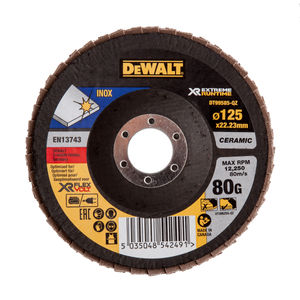 Dewalt DT99585-QZ Flap Disc XR FlexVolt Extreme Runtime 125mm x 22.23mm 80 Grit