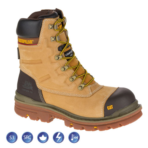Caterpillar 7063 Premier Honey Waterproof 8 Inch Safety Boot (Heat and Slip Resistant) - Size 6