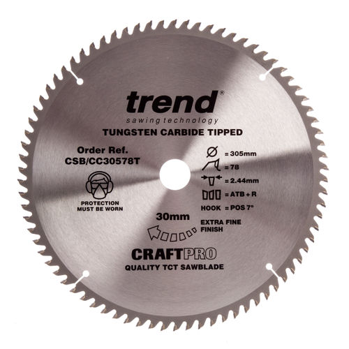 Trend CSB/CC30578T CraftPro Saw Blade Crosscut 305mm x 78 Teeth x 30mm