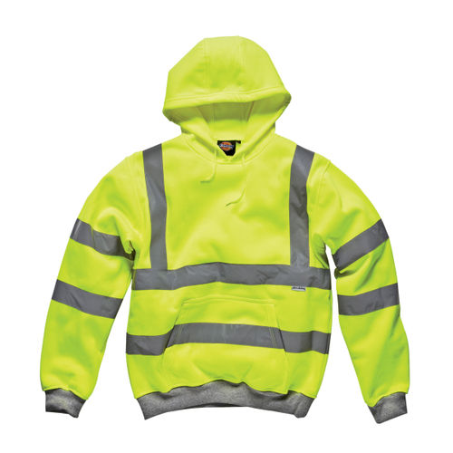 Dickies SA22090 Hi-Vis Safety Hooded Sweatshirt (Yellow) - XXL
