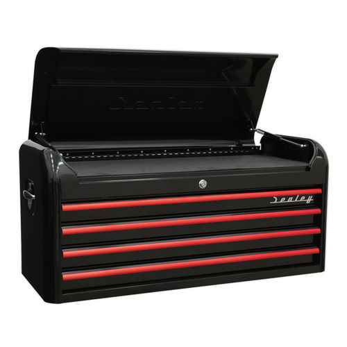 Sealey AP41104BR Topchest 4 Drawer Wide Retro Style - Black With Red Anodised Drawer Pulls