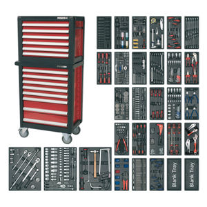 Sealey APTTC02 Topchest & Rollcab Combination 14 Drawer With 1233pc Tool Kit