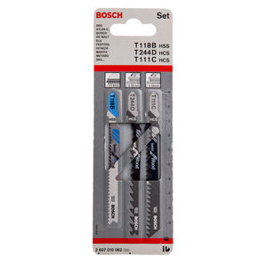 Bosch T111C, T244D, T118B (2607010062) Jigsaw Blades for Wood Plastic & Metal (Pack of 3)