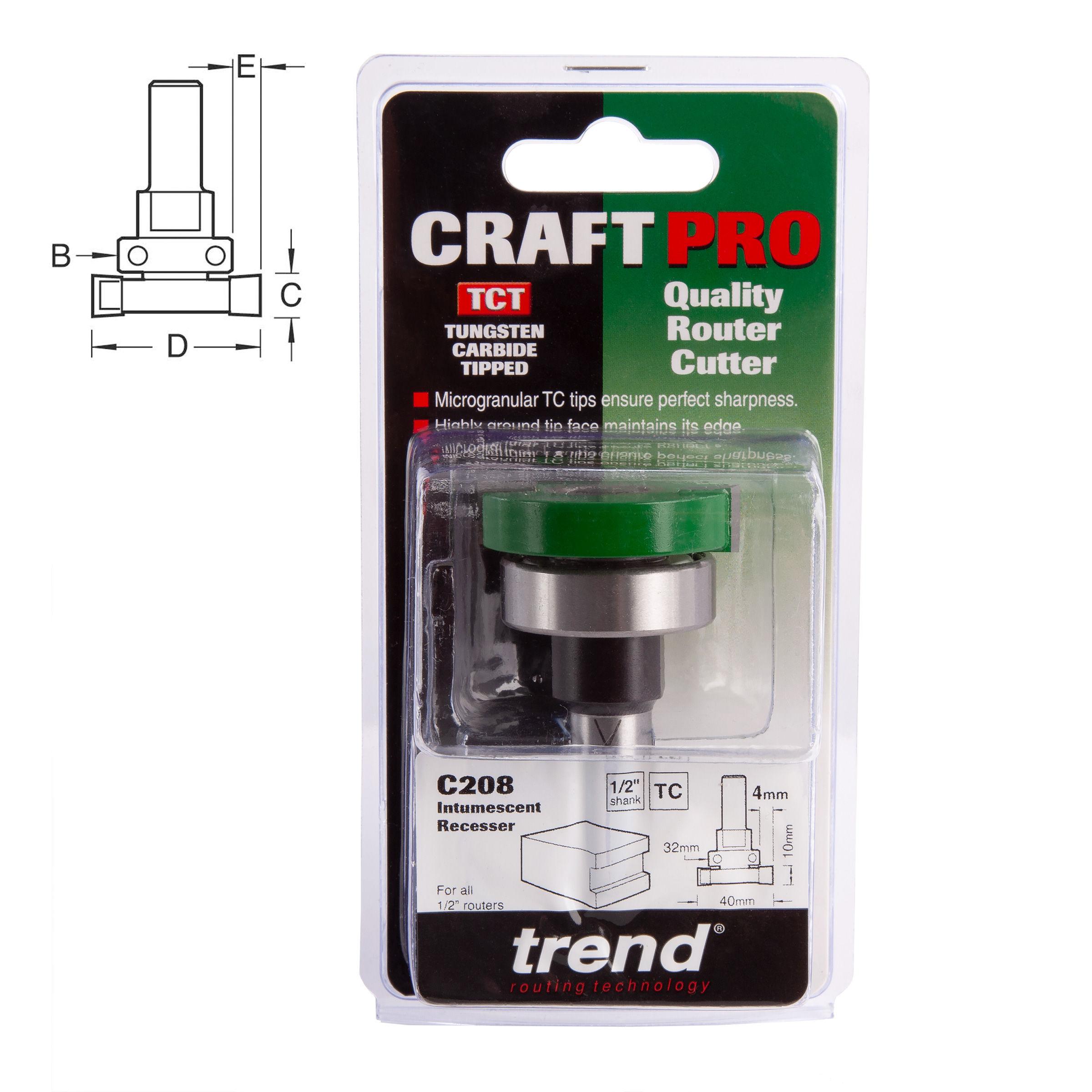 """Trend C208 1//2/"""" TCT Intumescent strip Cutter Set 10mm X 40mm Router Cutter Bit"""