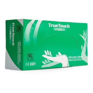True Touch GD1001PF Latex Gloves Pack of 100 White Extra Large