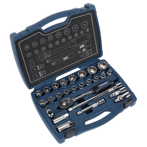 """Sealey AK8992 Socket Set 1/2""""sq Drive 6pt Walldrive Metric (26 Piece)"""
