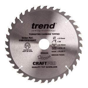 Trend CSB/CC21636T CraftPro Saw Blade Crosscut 216mm x 36 Teeth x 30mm