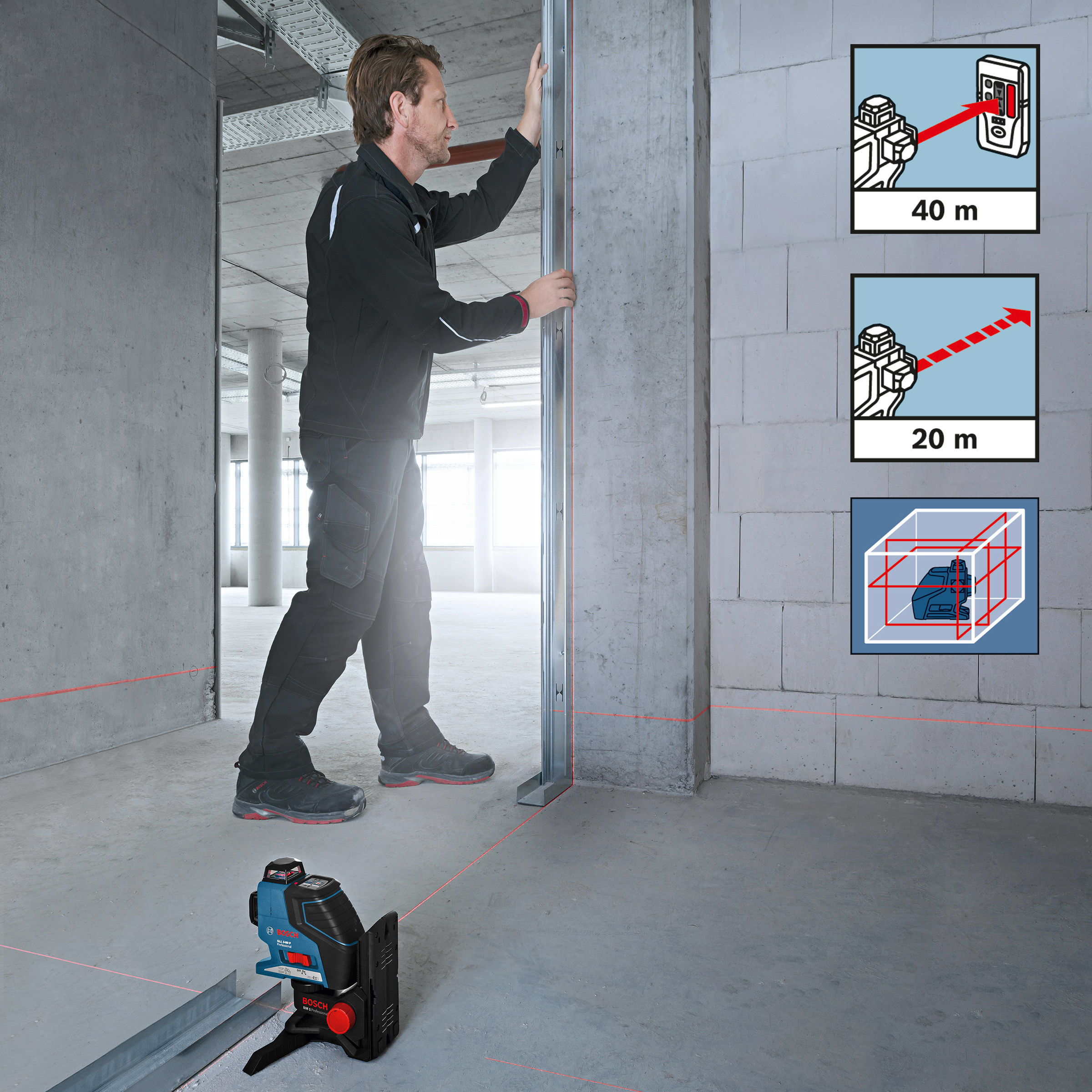 Toolstop Bosch Gll3 80p 360 Degree Vertical And Horizontal Line Gll 3 15 Laser Level Mini Bm 1 Wall Mount