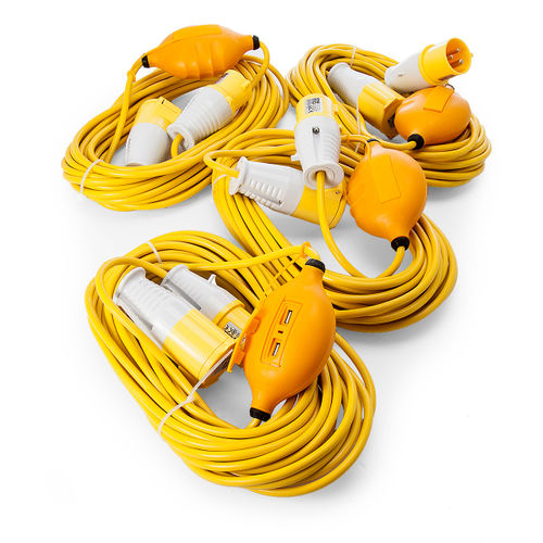 Just 110 Site Kit 2 Extension Leads x 4 - 1.5mmï¾_ x 14m with USB Ports 16Amp 110V