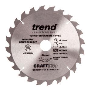Trend CSB/CC21624T CraftPro Saw Blade Crosscut 216mm x 24 Teeth x 30mm