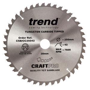 Trend CSB/CC25042 CraftPro Saw Blade Crosscut 250mm x 42 Teeth x 30mm