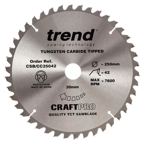 Trend CSB/CC25042 CraftPro Saw Blade Crosscut 250mm x 42 Teeth x 30mm