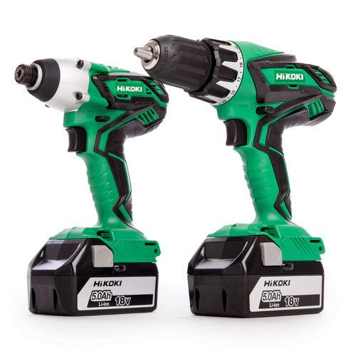 HiKOKI KC18DGL 18V Cordless 2 Piece Kit - Combi Drill / Impact Driver (2 x 5.0Ah Batteries)
