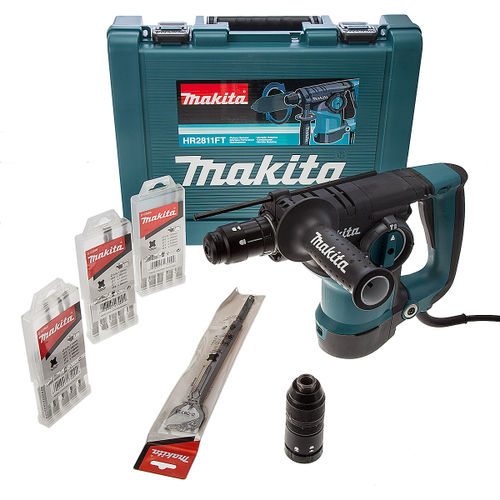 Makita HR2811FT-1 SDS Plus Rotary Hammer Drill with Quick Change Chuck with 16 Accessories 240V