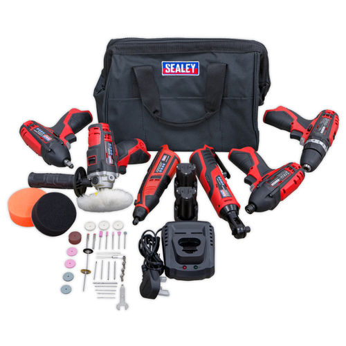 Sealey CP1200COMBO2 12V 6 Piece Kit with Charger and Bag (2 x 1.5Ah Batteries)