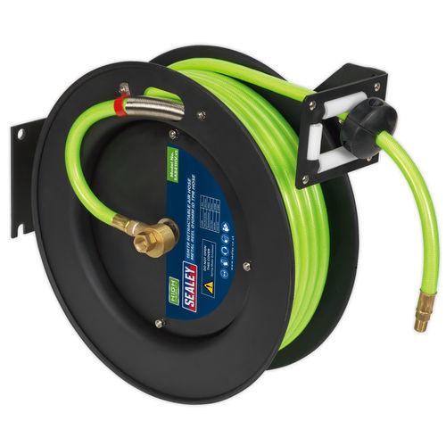 Sealey SA841HV Retractable Air Hose Metal Reel 15mtr, 10mm ID High Visibility TPR Hose
