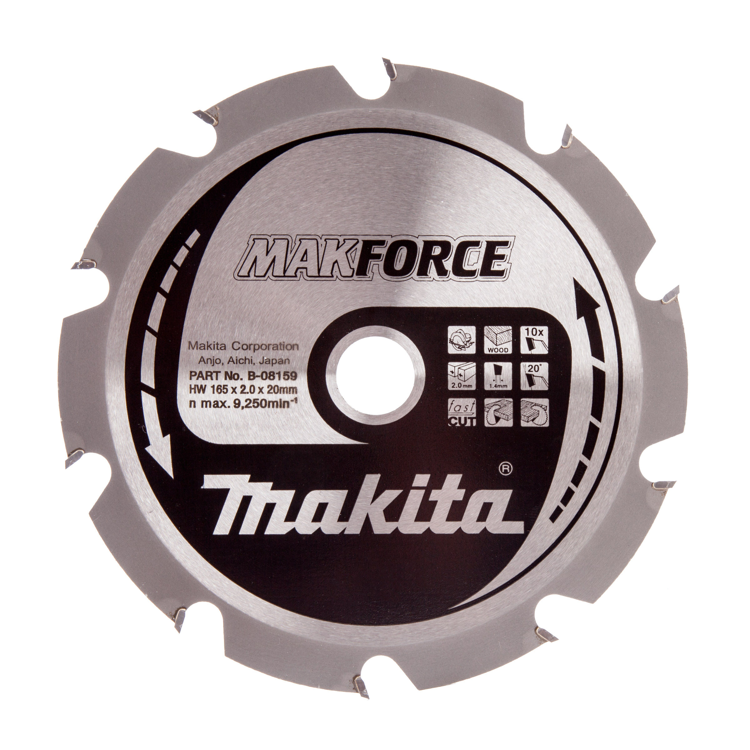 Toolstop makita b 49345 specialized circular saw blade for plunge makita b 49345 specialized circular saw blade for plunge saws 165mm pack of 2 greentooth Gallery