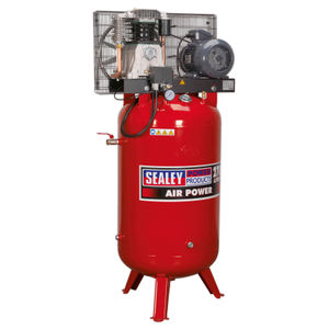 Sealey SACV42755B Compressor 270ltr Vertical Belt Drive 5.5hp 3ph 2-Stage With Cast Cylinders