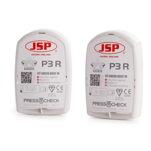 JSP BMN990-001-700 Force8 Press to Check P3 Dust Replacement Filters (Pack of 2)