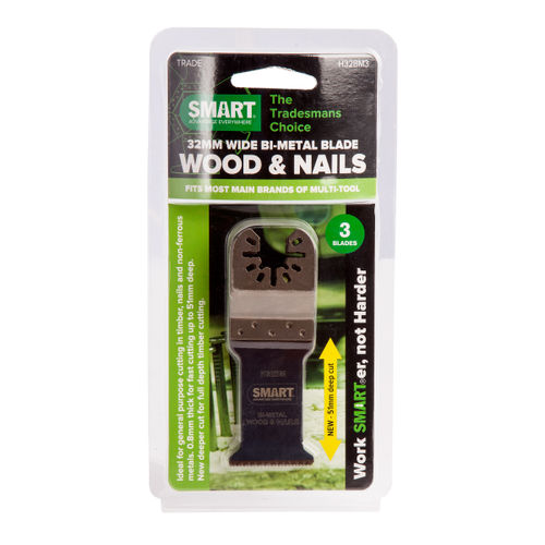 Smart H32BM3 Multi-Tool Blades Bi-Metal for Wood and Nails 32mm (Pack of 3)