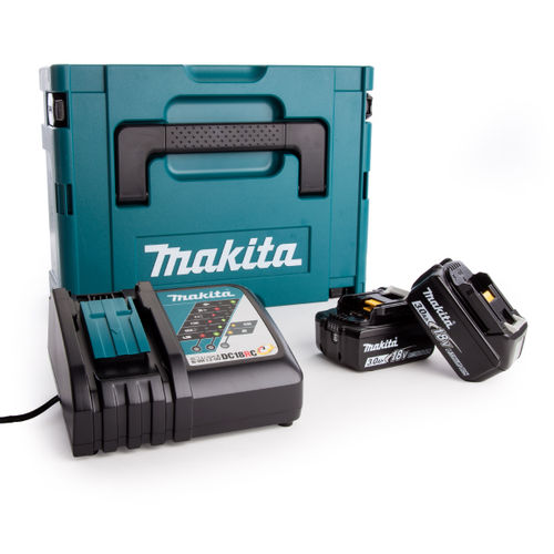 Makita 2 x BL1830B Batteries, DC18RC Fast Charger and Makpac Connector Case Type 2