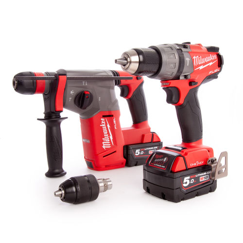 Milwaukee M18ONEPP2N-502B FUEL Thunderbolt Kit- Combi & SDS+ Drill (2 x 5.0Ah Batteries)
