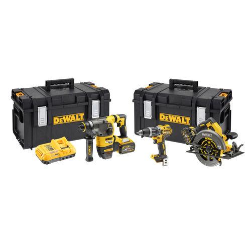 Dewalt DCK357T2 Triple Kit: DCD796 + DCH333 + DCS575 (2 x FLEXVOLT 6.0Ah Batteries) in 2 x TOUGHSYSTEM Boxes