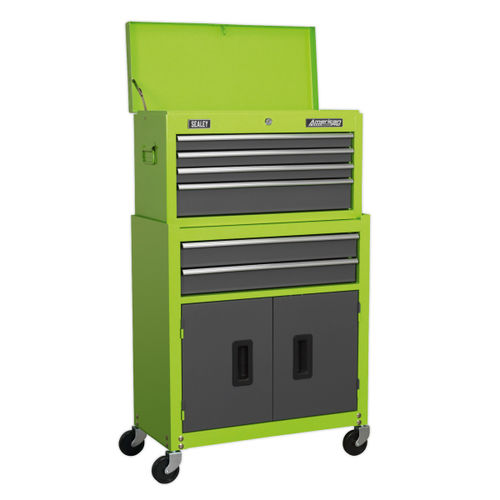 Sealey AP2200BBHV Topchest & Rollcab Combination 6 Drawer With Ball Bearing Runners - Hi-vis Green/Grey