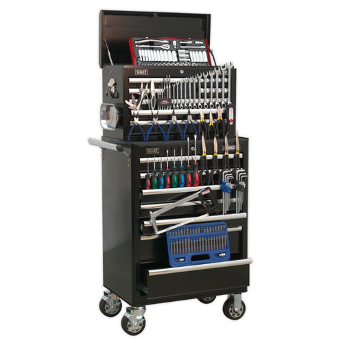 Sealey APCOMBOBBTK58 Topchest & Rollcab Combination 15 Drawer With Ball Bearing Runners - Black With 147pc Tool Kit