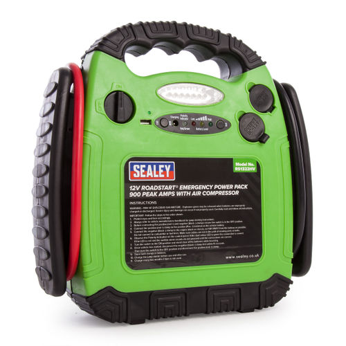 Sealey RS1322HV Roadstart Emergency Power Pack With Air Compressor 12v 900 Peak Amps