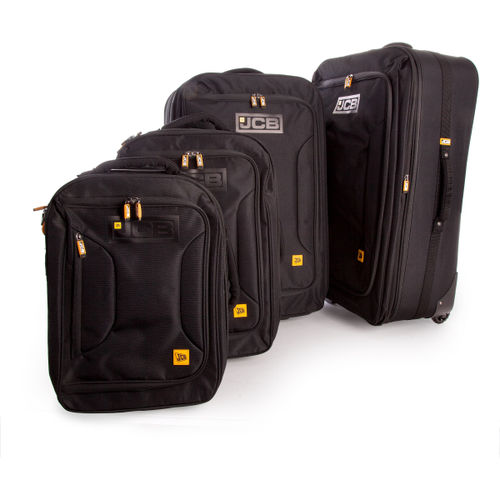 JCB 011PL - 4 Piece Nylon Weave Luggage Set in Black 32.5 - 48 - 79.5 - 111 Litre