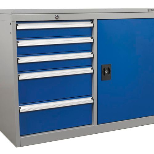 Sealey API1103B Industrial Cabinet/workstation 5 Drawer & 1 Shelf Locker