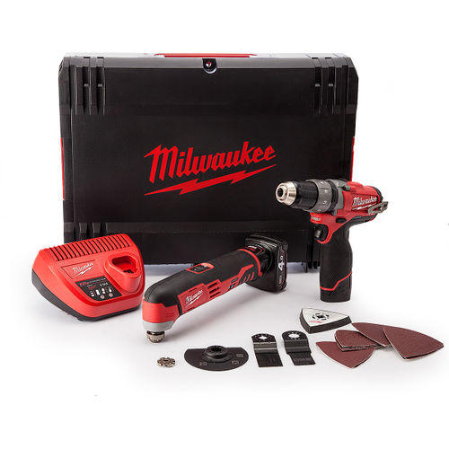 Milwaukee M12SET2A Drill Driver, Multi-Tool with Accessories 12V Cordless (1 x 2.0Ah, 1 x 4.0Ah Batteries)