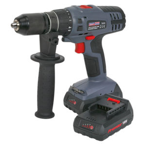 Sealey CP6018V Cordless li-ion Combi Drill/Driver 18v Super Torque 1hr Charge - 2 Batteries