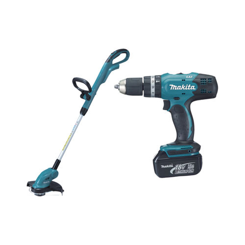 Makita DLX2114S 18V Cordless 2 Piece Combo Kit, Combi Drill DHP453 + Line Trimmer DUR181Z (1 x 3.0AH li-ion)