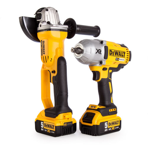 Dewalt DCK269P2-GB 18V Twin Pack - DCF899 Impact Wrench + DCG412 Angle Grinder (2 x 5.0Ah Batteries) in TOUGHSYSTEM Box
