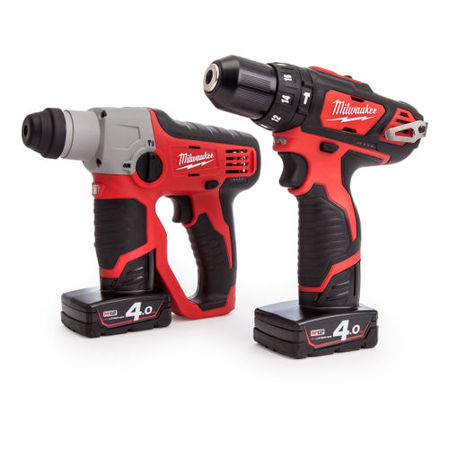 Milwaukee M12SET2F-402C M12 Cordless li-ion Powerpack with M12H SDS Hammer + M12BPD Percussion Drill (2 x 4Ah Batteries)