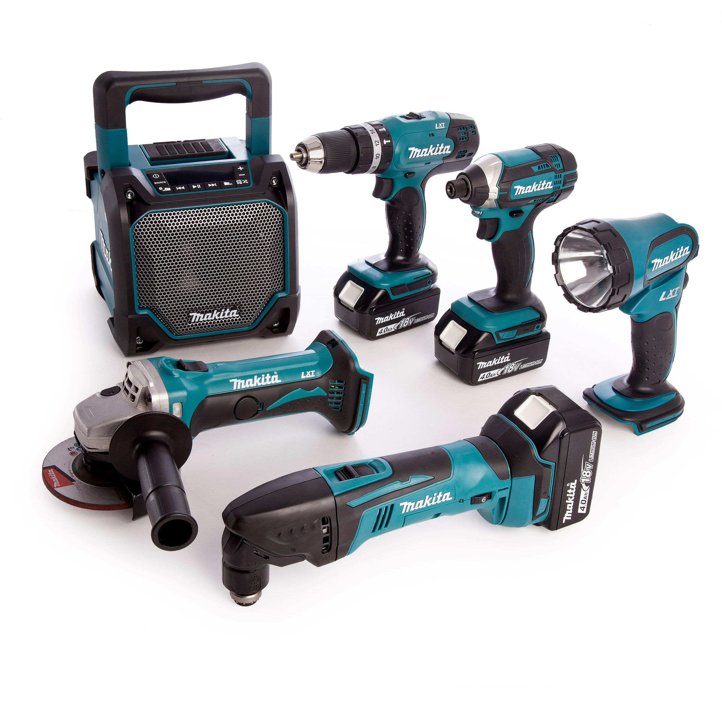 Stupendous Makita 6Kit 18V Lxt 6 Piece Combo Kit Dhp453 Combi Drill Dtd152 Impact Driver Dtm50 Multi Cutter Dga452 Angle Grinder Dmr202 Job Site Speaker Ocoug Best Dining Table And Chair Ideas Images Ocougorg