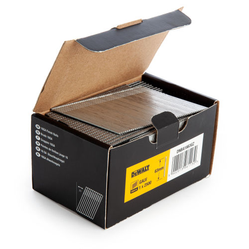 Dewalt DNBA1663GZ 16GA Brad Finish Nail 20 Deg Galvanised 63mm (Pack of 2500)
