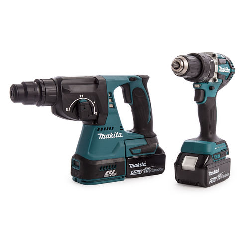 Makita DLX2204TX3 18V Brushless Twin Pack - DHP484 Combi Drill + DHR242 SDS Plus Rotary Hammer Drill (2 x 5.0Ah Batteries)
