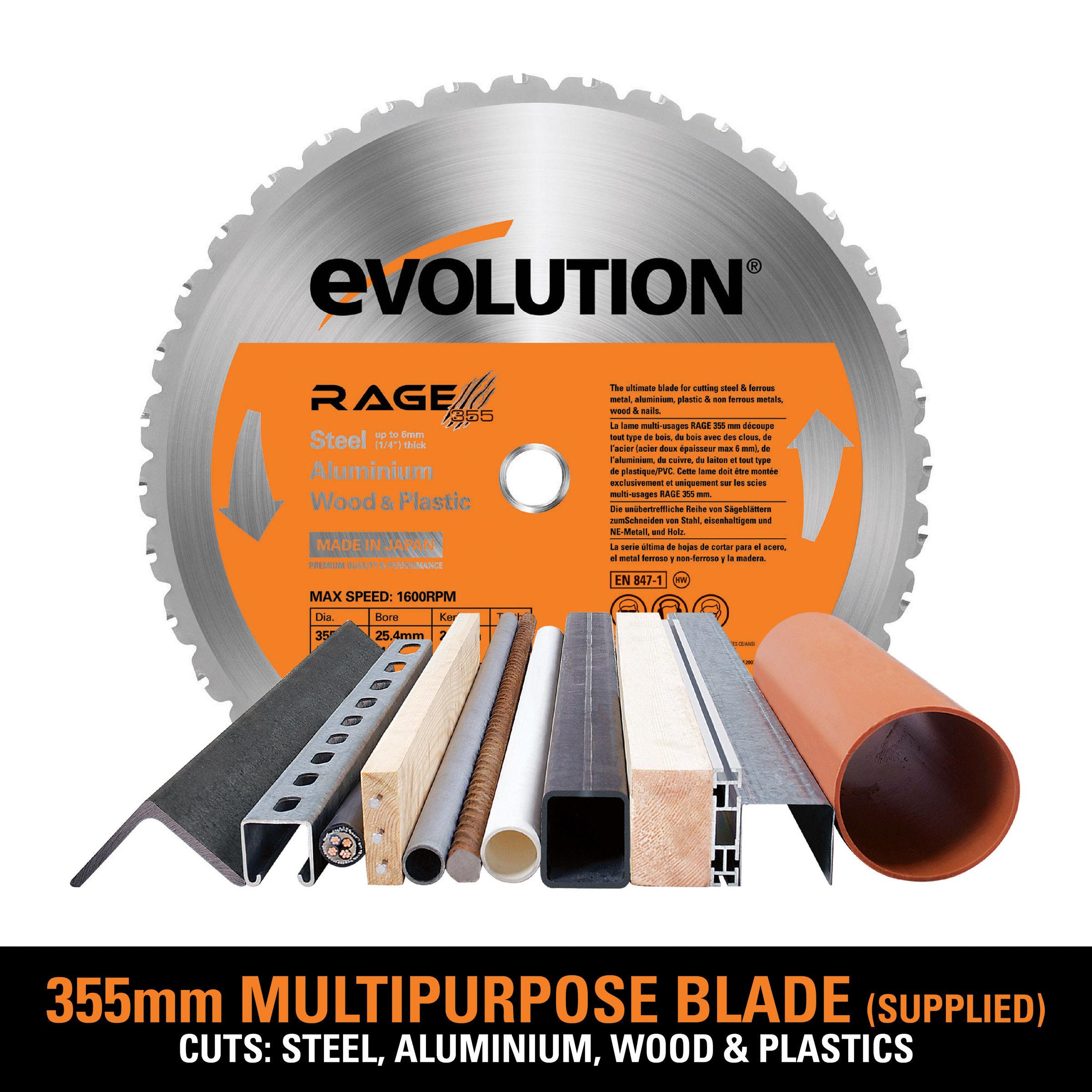 Evolution RAGE2 TCT Multipurpose Chop Saw 355mm / 14 Inch 240V