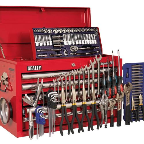 Sealey AP33059COMBO Topchest 5 Drawer With Ball Bearing Runners - Red & 138pc Tool Kit