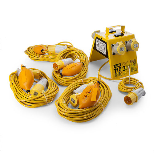 Just 110 Site Kit 4 Extension Leads x 4 - 1.5mmï¾_ x 14m + 4 Way Junction Box With USB Ports 110V