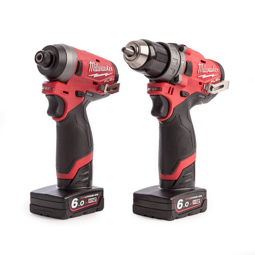 Milwaukee M12FPP2A-602X 12V Combi Drill and Impact Driver with Charger (2 x 6.0Ah Batteries)