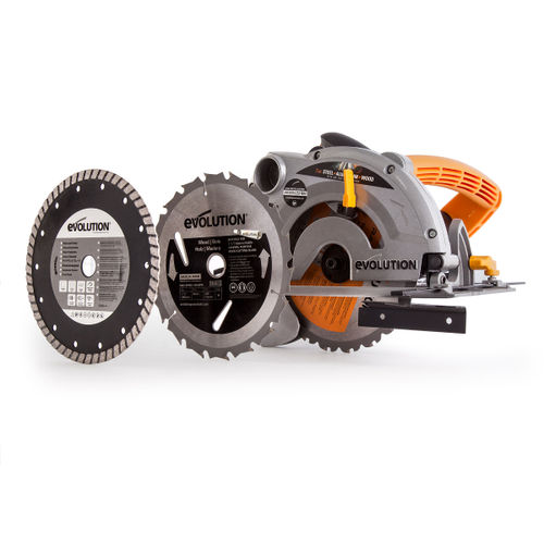 Evolution Rage-B 185mm TCT Multipurpose Circular Saw 110V with 3 Blades