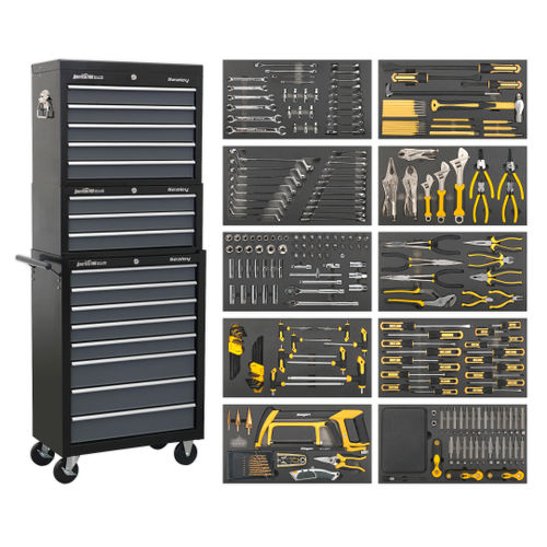 Sealey AP35TBCOMBO Tool Chest Combination 16 Drawer With Ball Bearing Slides - Black/Grey & 420 Piece Tool Kit