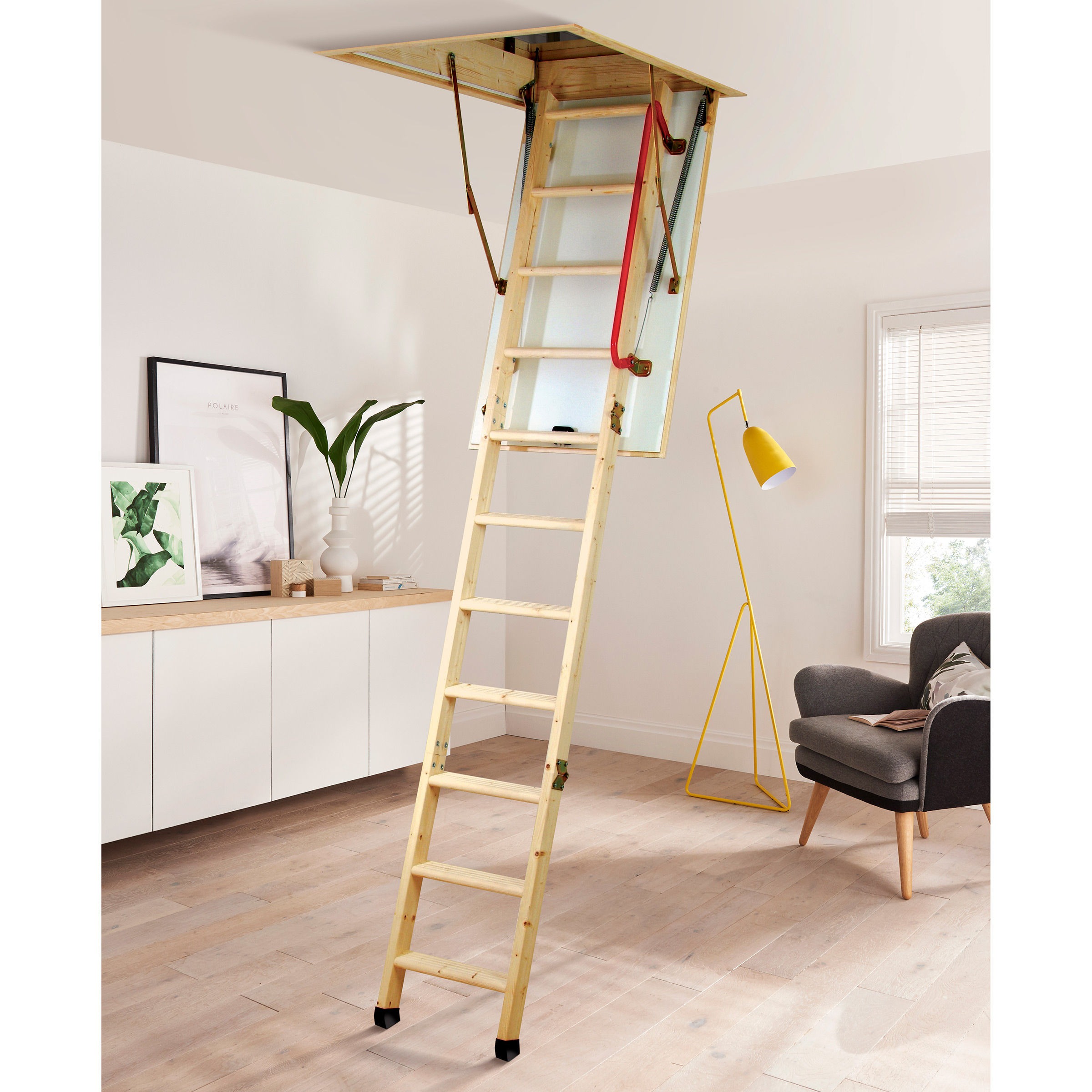 Youngman 345350 Eco S Line 3 Section Timber Folding Loft Ladder