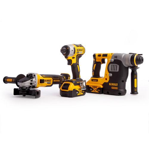 Dewalt DCK305P2T 18V XR Brushless 3 Piece Kit - DCH273 Rotary Hammer, DCF887 Impact Driver & DCG405 Angle Grinder (2 x 5.0Ah Batteries)