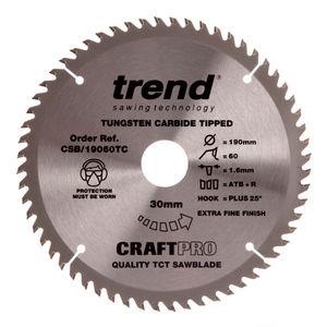 Trend CSB/19060TC CraftPro Saw Blade 190mm x 60 Teeth x 30mm